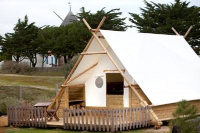 Tente Cocoon 4/6 personnes au glamping Camping Les Moulins à La Guérinière Pays de la Loire