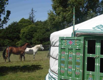 Extérieure yourte verte au glamping Breizh Yourte à Guidel en Bretagne