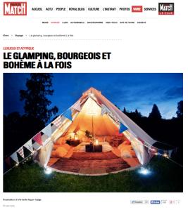 Paris Match 1 octobre 2014 Le Glamping, bourgeois et bohème à la fois
