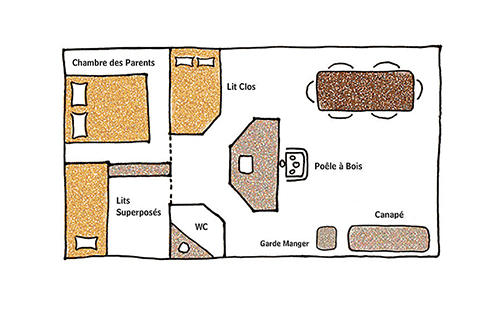 Plan de la Tente Un Lit au Pré au glamping le Domaine de Villiers à Chassy en Centre Val de Loire